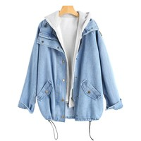 Wipalo Button Up Denim Jacket With Hooded 2 Piece 3XL Jean Plus Size Autumn Women Coat 2018 Fashion Streetwear Veste Femme