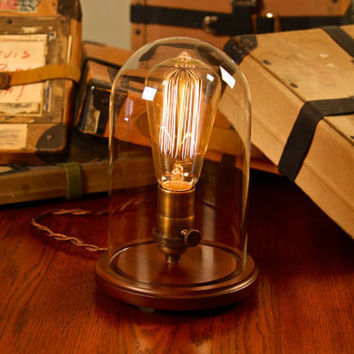 Edison Lamp, Vintage bell jar table lamp, rustic industrial lamp, edison bulb, steampunk, antique