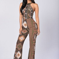 Wild Thing Jumpsuit - Brown/Multi