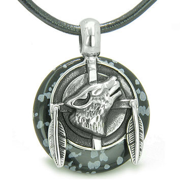 Amulet Howling Wolf Feathers Snowflake Obsidian Lucky Donut Leather Pendant Necklace