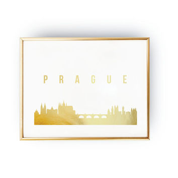Prague Print, Prague Skyline, Prague Cityscape, Skyline Art, Real Gold Foil Print,  Home Decor,  Czech Republic Print,  Czech Republic Art
