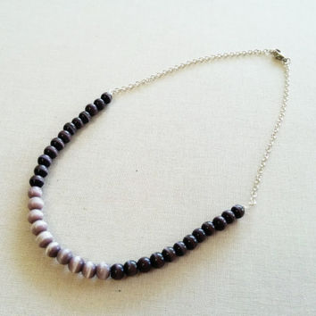 Brown Bead Necklace; Neutral Colors; Minimal Jewelry; Ombre; Contemporary Jewelry; Grey