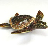 Wild Sea Turtle Box Swarovski Crystals Hawaiian Green Loggerhead Flatback Turtle Figurine