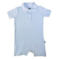 Solid Polo Romper in Pond