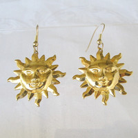 Happy Goldtone Smiling Sun Lady Earrings Stamped Metal Figural Jewelry