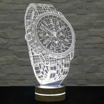 3D LED Lamp, Wrist Watch Shape, Decorative Lamp, Home Decor, Table Lamp, Office Decor, Plexiglass Art, Art Deco Lamp, Acrylic Light