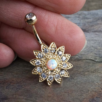 Sparkly White Fire Opal Flower Gold Belly Button Ring