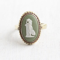 Vintage Wedgwood Gold Wash Over Sterling Silver Andromache Cameo Ring - Size 6 English Green Jasperware London 1978 Jewelry