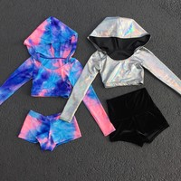 Techno Baby Long Sleeve Hooded Crop Top
