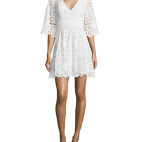 Alexis Webb 3/4-Sleeve Lace Mini Dress, White