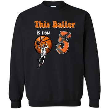 5th Birthday Basketball T-Shirt Funny 5 Years Old Gift Printed Crewneck Pullover Sweatshirt 8 oz