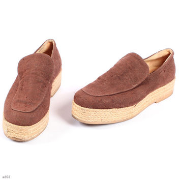 Vintage PLATFORM Shoes . 1970s Linen WEDGES Natural Vegan Canvas Brown Beige Boho Summer Festival Flats Retro . size us 7.5, Eur 38, uk 5