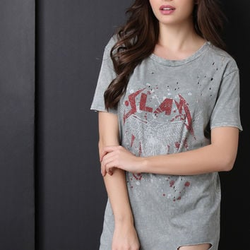 Distressed Mineral Wash Slay Tee Dress
