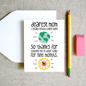 Thanks for Cooking Me Mom card mothers day birthday funny cute sweet silly drawing and illustration earth white green blue yellow red