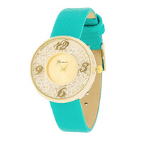 Fashion Accessories Gold Watch  With Leather Strap MINT