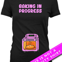 Pregnancy Announcement Shirt Pregnancy Reveal Maternity Clothing Baking In Progress Baby Shower Shirt Mother To Be Gift Ladies Tee MAT-627