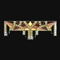 Pierre Bex Art Deco Geometric Brooch Pin, Light and Dark Maroon, Deep Yellow, And Black, With Swarovski Crystal Rhinestones