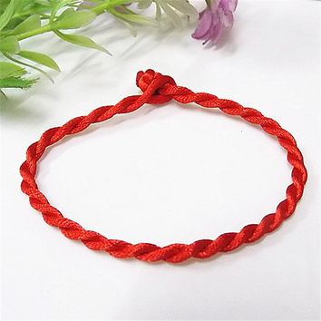 Sale 2017 1PC Fashion Red Thread String Bracelet Lucky Red Green Handmade Rope Bracelet for Women Men Jewelry Lover Couple