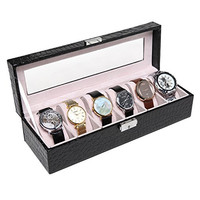Black Crocodile Grain Faux Patent Leather 6 Suede Cushion Slot Watch / Jewelry Lock & Key Organizer Box