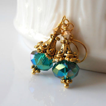 Teal Earrings Faceted Glass Bead Dangles with by FiveLittleGems