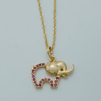 Charm Elephant Necklaces With Zirconia Gold Plated Trendy African Elephant Pendant Necklace Jewelry Animal Accessories #015404