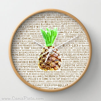 Psych Wall Clock in Natural Wood, Black, or White Frames Burton Guster Nicknames TV Pop Culture Humor Lime Neon Brown Fun Yellow Pineapple