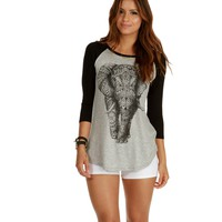 Heather Gray Elephant Raglan Top