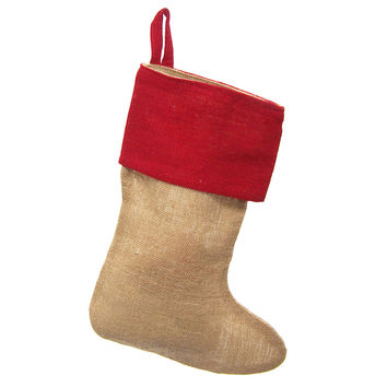 Burlap Natural Christmas Stocking w/ Red Cuff, 17-inch