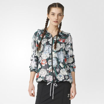 """Adidas"" Floral Letter Print Long Sleeve Sportswear Zip Cardigan Hooded Windbreaker Coat"