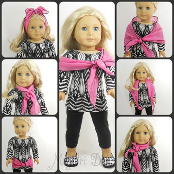 American Girl Doll Clothes 3 PC Set Black and White Tunic, Leggings, Scarf