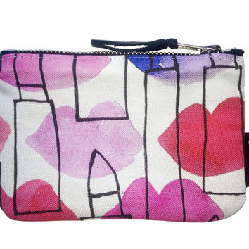 Lips and Lipstick Outlines Coin Purse