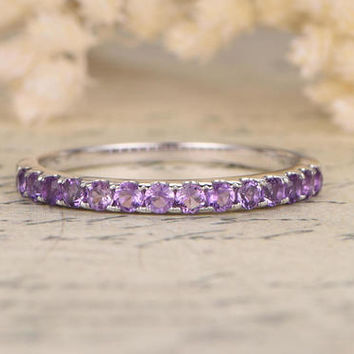 Amethyst Wedding Ring 14K White Gold Art Deco Wedding Band Half Eternity Ring Amethyst Engagement Ring Stackable Ring Pave Amethyst Ring
