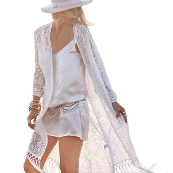 PEAPGC3 Beach Cover Up Floral Bikini Swimsuit Cover Up Robe De Plage Beach Cardigan Swimwear Bathing Suit Cover Up