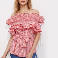 Frill Blouse Red Gingham Tops Off Shoulder Women Cute Tops Self Tie Ruffle Sweet Blouse