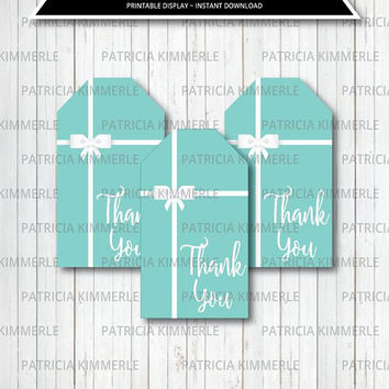 Printable Thank You Tags, Breakfast at Tiffany's, Birthday, Party Decorations, DIY, Favors, Chic, Fashion, Modern INSTANT DOWNLOAD