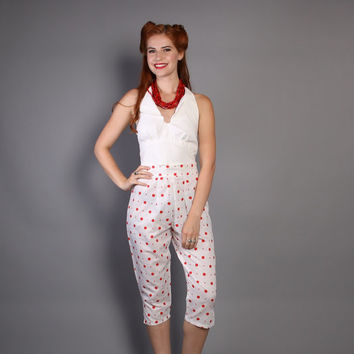 80s does 50s Pin Up PANTS / Red & White Polka DOT Pedal Pushers, m