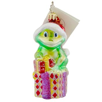 Christopher Radko RIBBITS AND BOWS Glass Frog Santa Christmas 1011191