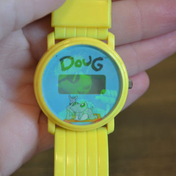 Vintage RARE 1993 Nickelodeon Holographic DOUG & Pork Chop Yellow Watch Has Not Been Tested Cartoon Television Show 1990s 90s Retro Bracelet