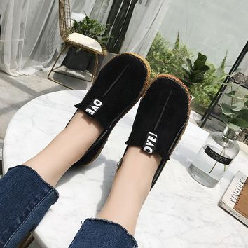 Soft leather slip on loafers with rubber soles