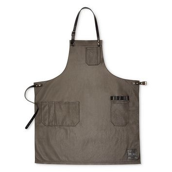 ALEX LEATHER APRON, GUNMETAL GREY