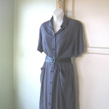 1950s Country Girl/Housewife/Rockabilly Rebel Blue Shirtwaist Dress - Large Vintage Blue Cotton Teacher/Farmer's Wife Dress