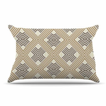 "Julia Grifol ""Brown Geometries"" Beige Geometric Pillow Case"
