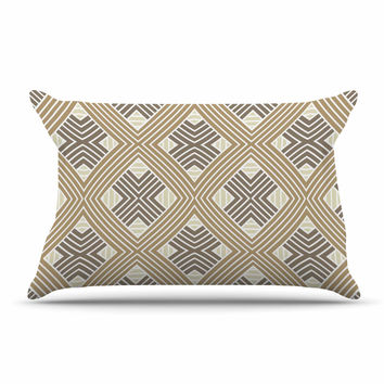 "Julia Grifol ""Brown Geometries"" Beige Geometric Pillow Sham"