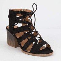 QUPID Lace Up Womens Heeled Sandals