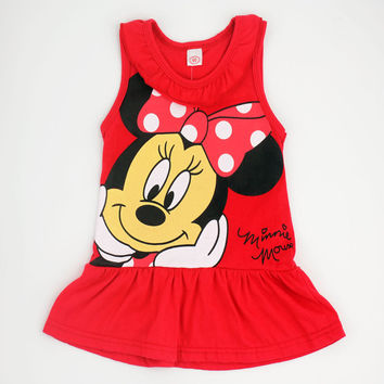 2015 Spring Summer Minnie Children Cute Princess Dresses Baby Girl Dress Fashion Cartoon Clothing 2 Colors Pink Red