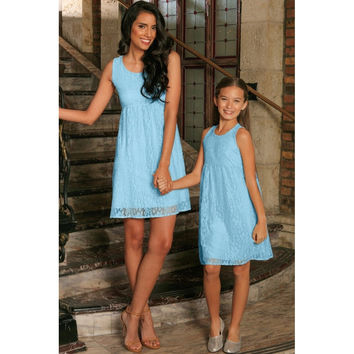 Baby Blue Stretchy Lace Empire Waist Sleeveless Mommy and Me Dress
