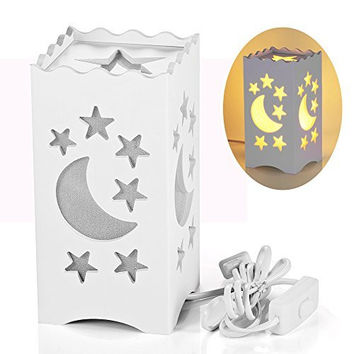 Pandawill Art Light White Table Light with Moon and Star Shaped Carving, Desk Lamp Night Light for Bedroom, Dorm, Living Room