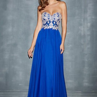 Strapless Blue Applique Backless Prom dress