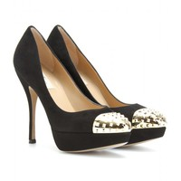mytheresa.com -  Valentino - SUEDE PUMPS WITH STUDDED CAPPED TOE - Luxury Fashion for Women / Designer clothing, shoes, bags