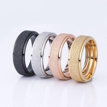 2018 New Fashion Titanium Steel Ring High Quality Black Rose Gold Silver Color Wedding engagement Frosted Rings for Men Women